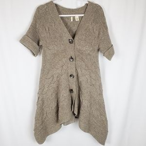 Anthro Moth Cable Knit Asymmetrical Cardigan